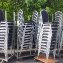 ✅ Bankettstühle Banketttische Stühle Stapelstühle Tische Verleih